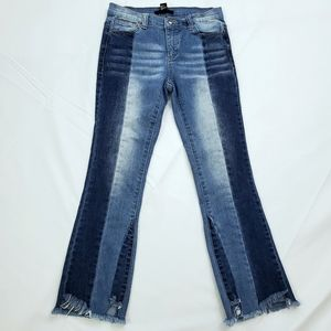 Forever 21 Two Toned Cropped Flare Jeans Small
